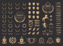 Luxury Logo Set. Crest Logo Element, Crown, Wing, Emblem, Heraldic Monogram. Vintage Logo Design Elements.