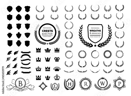 Fototapeta Luxury logo set. Crest logo element, Crown, Wing, Emblem, Heraldic Monogram. Vintage logo design elements. obraz