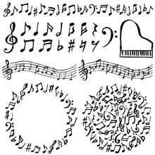 音符 音楽 広告用イラスト 手書き