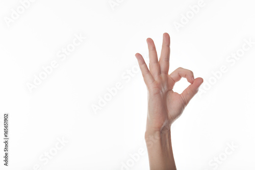 Fotografía  Human hand gesture is all right everything is OK. Isolated.