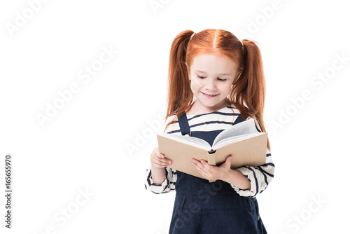 Cute Smiling Elementary School Student Reading Book Isolated