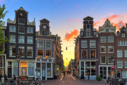 Beautiful sunset at one of nine little streets in Amsterdam, the Netherlands