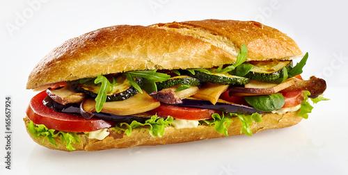 Staande foto Snack Fresh baguette sandwich with vegetables