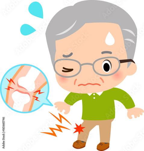Photo 膝関節の痛みに悩むシニア男性