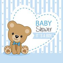 Baby Shower Girl. Cute Bear