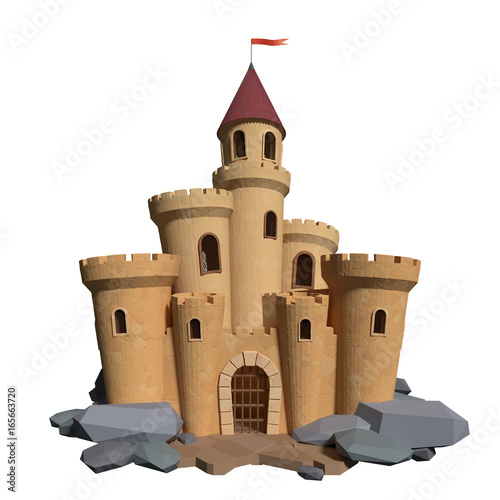 Photo 3d cartoon medieval castle