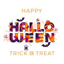 Halloween Greeting Card Vector...