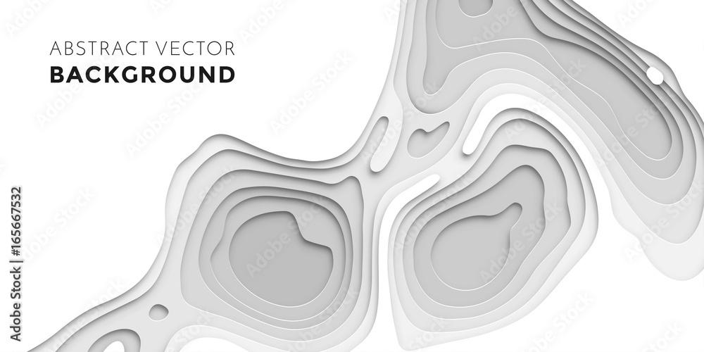 Fototapety, obrazy: 3D papercut layers, paper cut vector art background banner texture website template