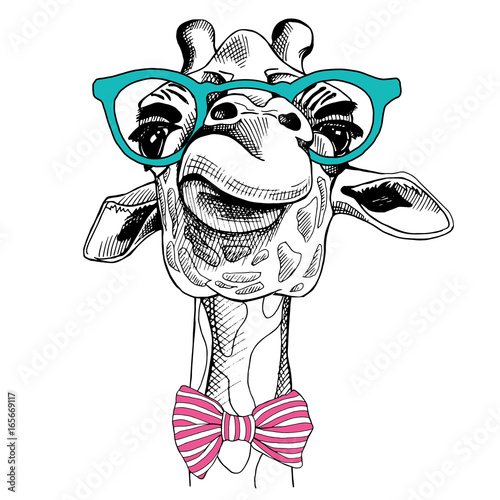 Photo  Giraffe portrait in a glasses and with tie. Vector illustration.