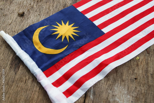 Independence Day concept - Malaysian Flag Over Wooden Background Poster
