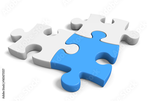 Fotografie, Obraz  Three connected jigsaw puzzle pieces on a white background, 3D rendering