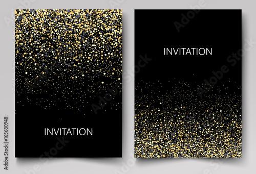 Fotografía  Invitation template with gold glitter confetti background