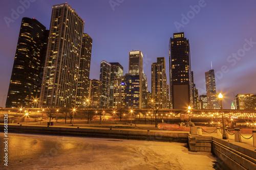 Zdjęcie XXL Panorama Chicago i zamarznięty jezioro michigan