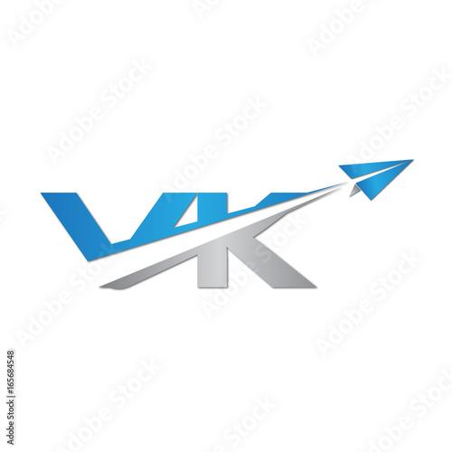 VK Initial Letter Logo Origami Paper Plane