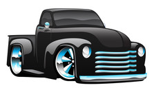 Hot Rod Pickup Truck Illustration Isolated Vector Illustration, Shiny Black Paint, Cool Low Stance, Lots Of Chrome