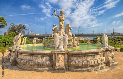 Fotografie, Obraz GENOA (GENOVA) ITALY, JULY, 19, 2017 - Neptune fountain in the the garden of the