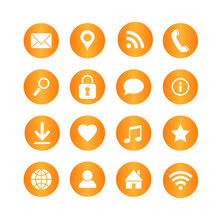 Set Of Media And Communication Vector Icons On Orange Circle Buttons.