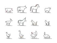 Animals Farm Black Thin Line Icon Set. Vector