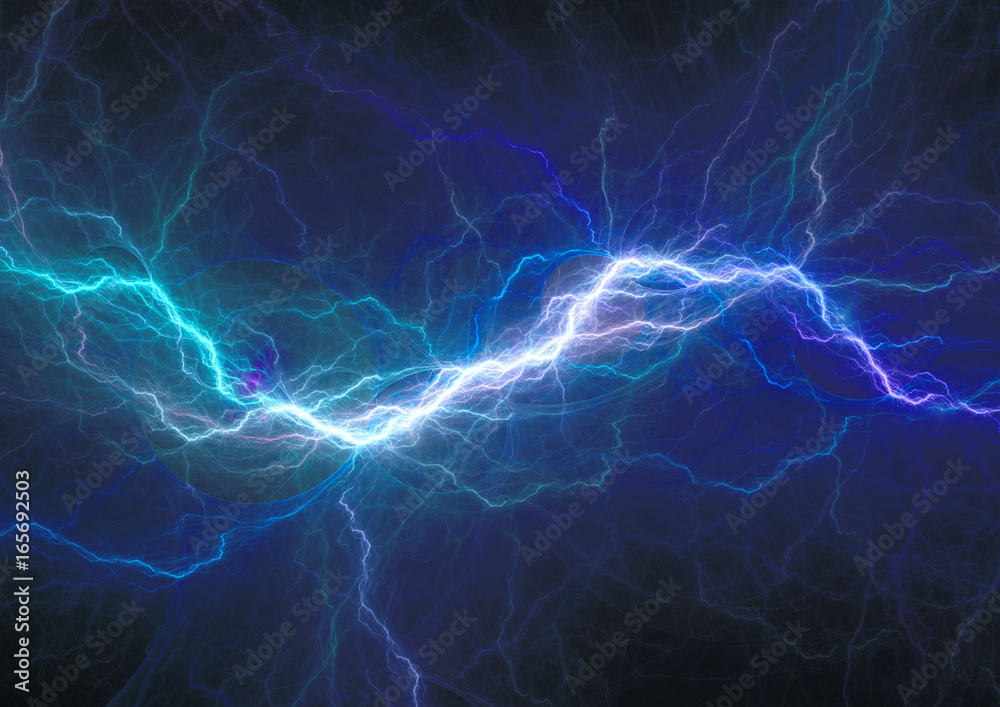 Fototapety, obrazy: Blue electrical discharge, plasma and power background