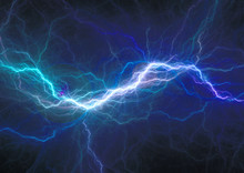 Blue Electrical Discharge, Plasma And Power Background