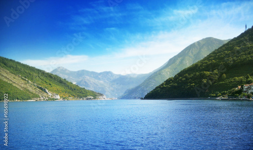 Beautiful sea harbor in the mountains. Summer background