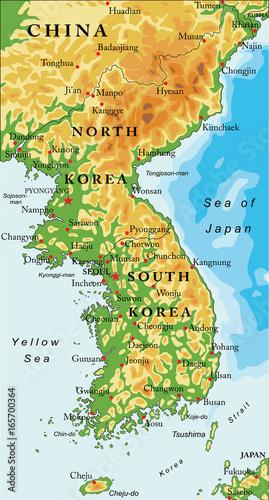 Korean Peninsula relief map Wallpaper Mural