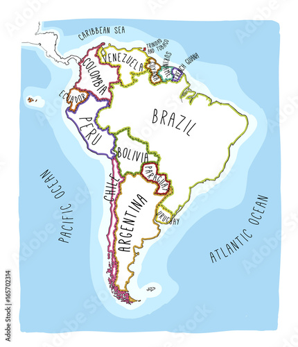 Hand drawn vector map of South America.