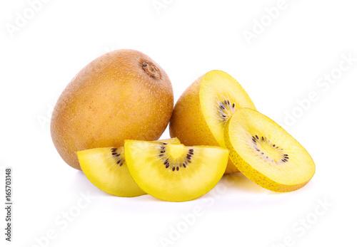 Yellow Kiwi Fruit Isolated on White Background