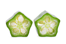 Two Slice Of Fresh Green Okra Isolated On White Background