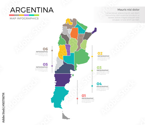 Photo Argentina country map infographic colored vector template with regions and point