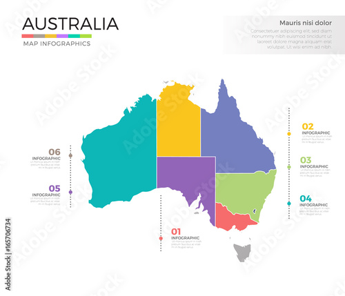 Australia Map Template.Australia Country Map Infographic Colored Vector Template With