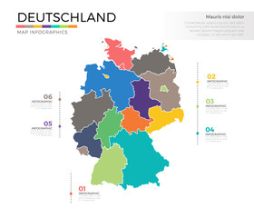 Deutschland country map infographic colored vector template with regions and pointer marks