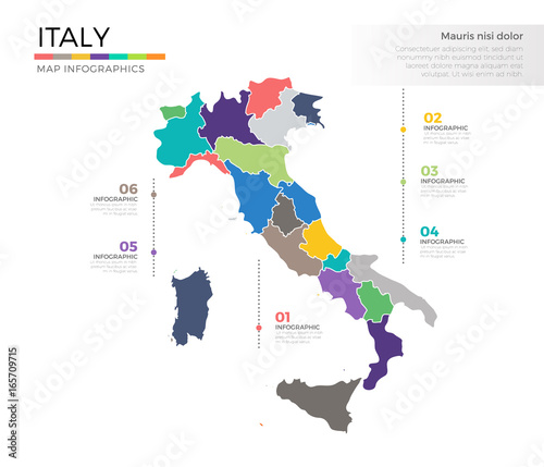 Fotografie, Tablou  Italy country map infographic colored vector template with regions and pointer m