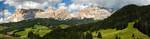 Beautiful view of Sasso della Croce Group in the Alta Badia Dolomites Canvas Print