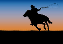 Rodeo Competition Tournament, Sunset Background. Poster Cowboy And Lasso On The Horse