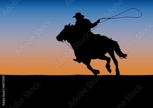 Cuadros en Lienzo Rodeo competition tournament, sunset background