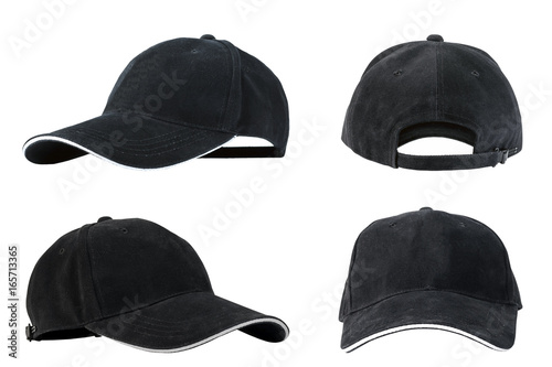 Valokuva  Collection of black baseball caps isolated on white background, concepts of beauty, fashion and sport object