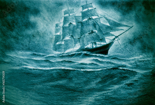 Carta da parati Sailing ship in a storm