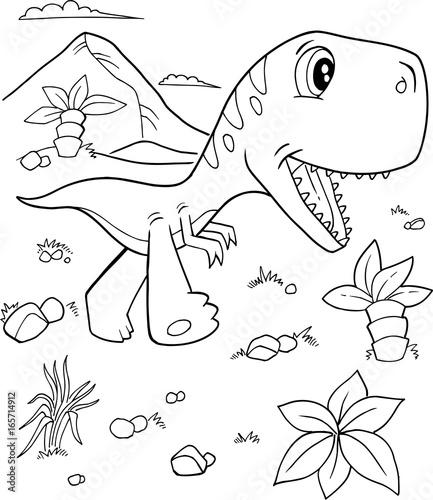 Papiers peints Cartoon draw Cute Tyrannosaurus rex Dinosaur Vector Illustration Art