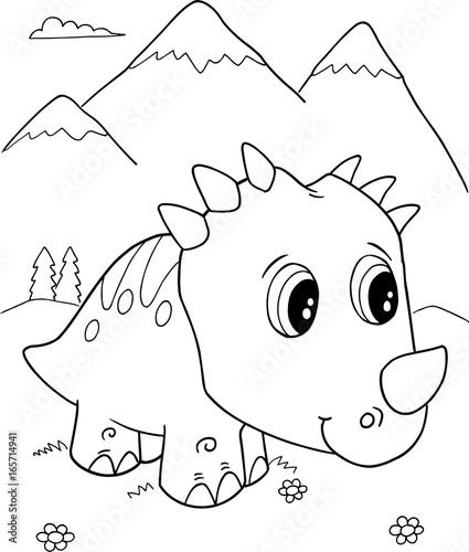 Papiers peints Cartoon draw Cute Triceratops Dinosaur Vector Illustration Art
