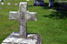 Stone Cross In Old Cemetery