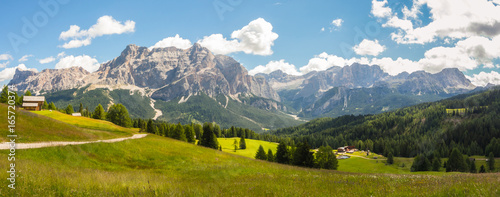 Meadows at high altitudes forming gentle hills. Dolomites, Alta Badia, Sud Tirol, Italy