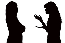 Black And White Silhouette Of Relations Between Mom And Teenage Daughter