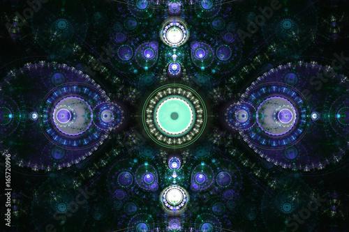In de dag Fractal waves Geometric shapes fractal render can illustrate universe space imagination or psychedelic concept.