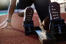 Men's Feet On Starting Block Ready