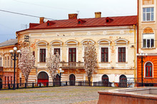 Old Building On The Philharmonic Square, Where Tourists And Locals Like To Feed The Pigeons, Chernivtsi, Ukraine