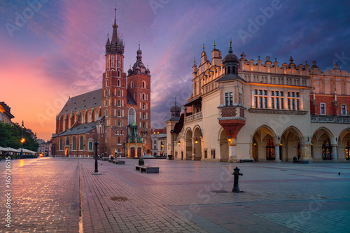obraz PCV Krakow. Image of old town Krakow, Poland during sunrise.