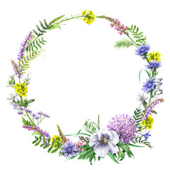 Fototapeta Łąka Summer Wildflowers Wreath