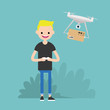 Drone delivery service. Young character controlling a drone with a remote controller / flat editable vector illustration, clip art
