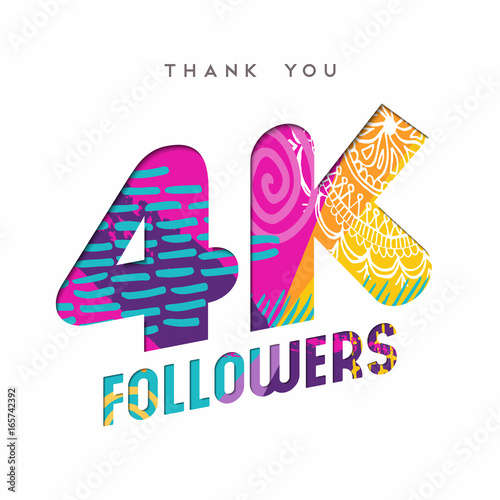 Fotografie, Tablou  4k social media follower number thank you template